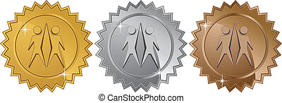 team coins isolated on a white background.