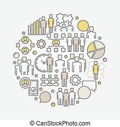 Team colorful round illustration