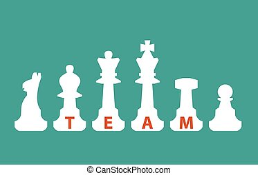 Team,  communication concept with chess figures