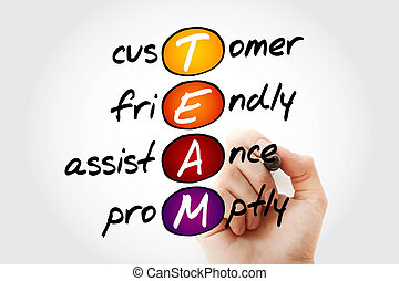 TEAM - Customer, Friendly, Assistance, Promptly