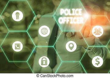team., démontrer, écriture, texte, droit & loi, officier, concept, police, signification, officer., écriture, application