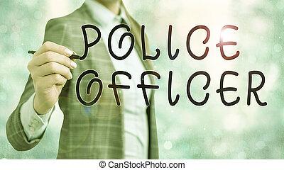 team., démontrer, écriture, texte, mot, droit & loi, officier, police, concept, officer., business, application