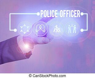 team., démontrer, photo, texte, projection, droit & loi, conceptuel, officier, signe, police, officer., application