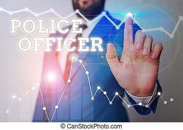 team., démontrer, showcasing, écriture, photo, projection, droit & loi, officier, police, note, officer., business, application