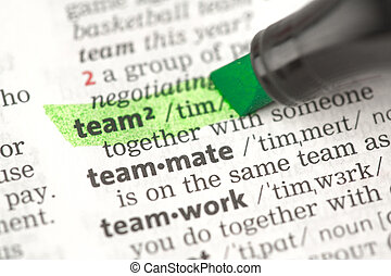 Team definition highlighted in green