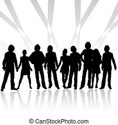 team, design of a group with silhouettes of people