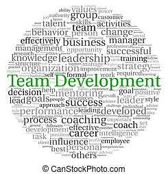 Team Development concept in word tag cloud