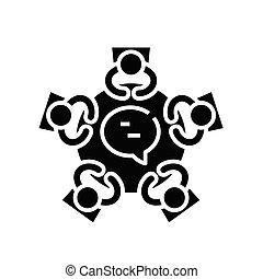 Team discussion black icon, concept illustration, vector flat symbol, glyph sign.