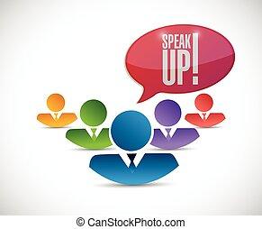 team., diversidad, arriba, ilustración, hablar