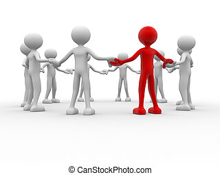 Team - 3d people - human character, people in circle....