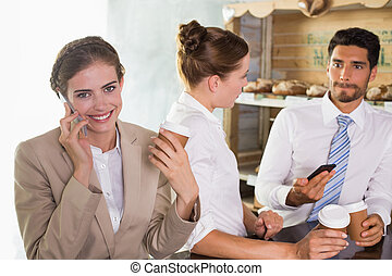 Team during break time in office cafeteria
