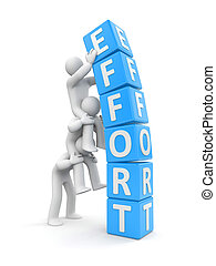 Team effort. Business 3D metaphor