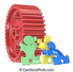Team Effort. - Puzzle People x 3 moving big Cogwheel. Red,...