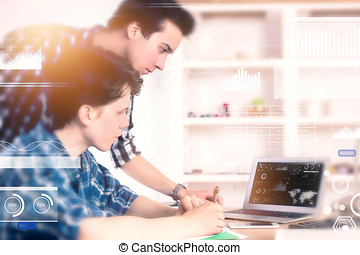 team, en, boekhouding, concept