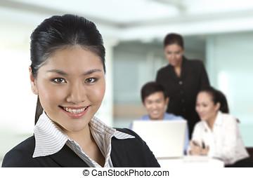 team., femmes, elle, business, asiatique