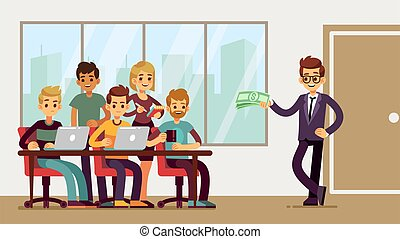 Team found investor. Businessman invests young professionals. New startup, man and group of student developers at office vector illustration