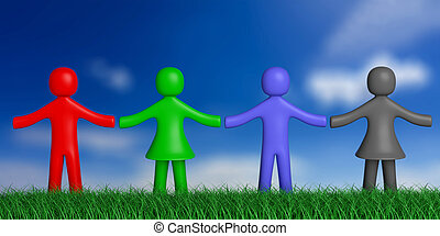 Four colorful human figures on grass, nature, holding hands, blue sky background. 3d illustration