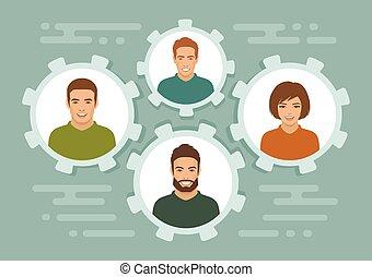 team, groep, mensen zaak, glimlachen