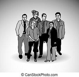 team, groep, shadow., zakenlui