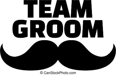 Team Groom with mustache