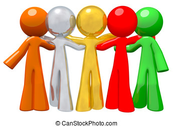 Team Group Togetherness Concept in Success - Group of people...