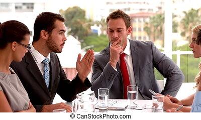 Team having a serious meeting