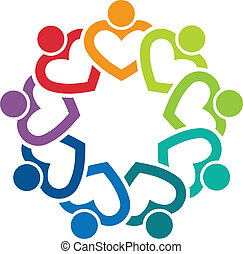 Team Heart 9 image. Concept of care group, people community, dating persons