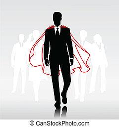 Team hero man - Businessman team hero with red cloak in...