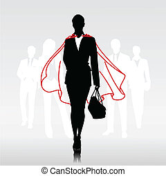 Businesswoman team hero with red cloak in front of her team