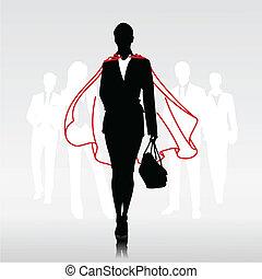 Team hero woman - Businesswoman team hero with red cloak in...