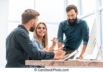 team, het bespreken, werkkring vergadering, plan, zakelijk