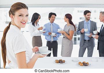 team, het genieten van, hun, zakelijke lunch