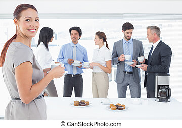 team, het genieten van, zakelijk, dranken, enig