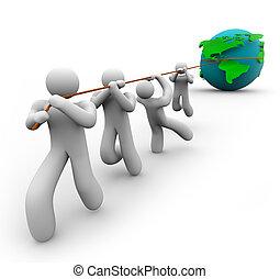 team, het trekken, de wereld