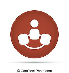 Team icon on a circle on a white background. Vector illustration