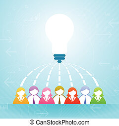 Vector illustration of several people collaborate an idea.