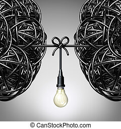 Team ideas and collaboration concept as two groups of tangled electric cord or wire with a light bulb connection tied together between the partners as a teamwork metaphor for success.