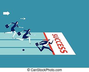 team., illustration., ビジネス 概念, 競争, ベクトル