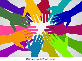 Team - Illustration of many colored hands