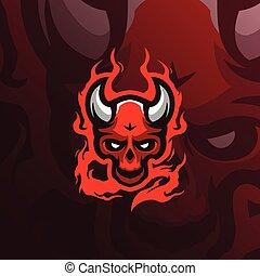 team., illustration, vecteur, printing., tshirt, crâne, mascotte, diable, sport, logo, moderne, fâché, style, esport, concept, conception, écusson, emblème