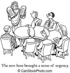 Team in meeting room meet new boss - The new boss brought a...
