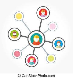 Team in social networks working illustration
