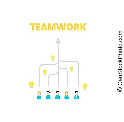 Team is committed to a single goal - vector illustration. Combining the skills of people in teamwork. Achievement  results concept.