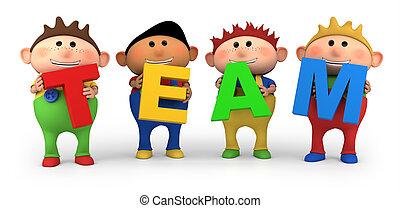 team kids - cute little cartoon boys holding TEAM letters - ...