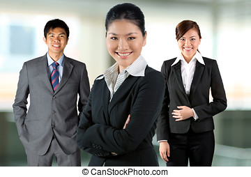 team., kvinnor, henne, affär, asiat