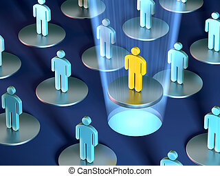 Team leader - Conceptual image showing a group of people...