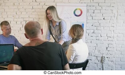 Team leader female enters the creative office, comes to the table, welcomes and smiling the team. Coworking. Slow motion