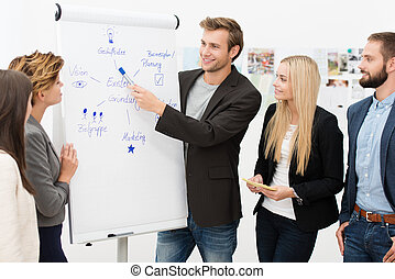 Handsome smiling young male team leader giving a presentation to his business colleagues standing in front of a flipchart with a diagram