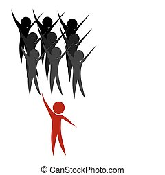 Team leader - Happy team and leader - conceptual vector...