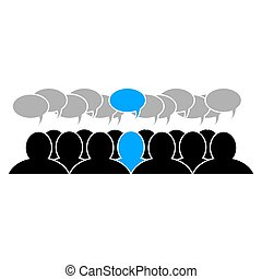 Team leader icon social business group. Flat design, vector illustration of a group of people with a pronounced main activist
